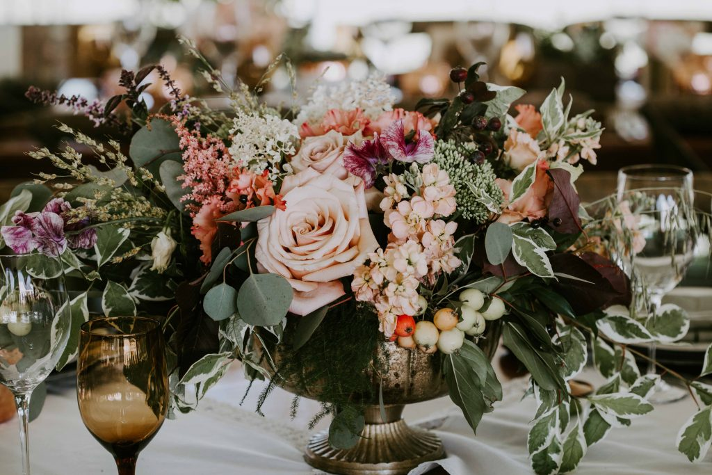 Edmonton Outdoor Tent Wedding in August in Gold Copper and Blush Flowers
