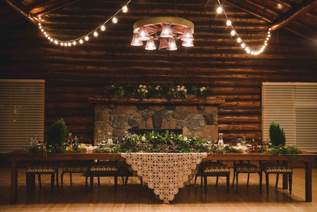 Festive Winter Wedding Reception at Old Timer's Cabin